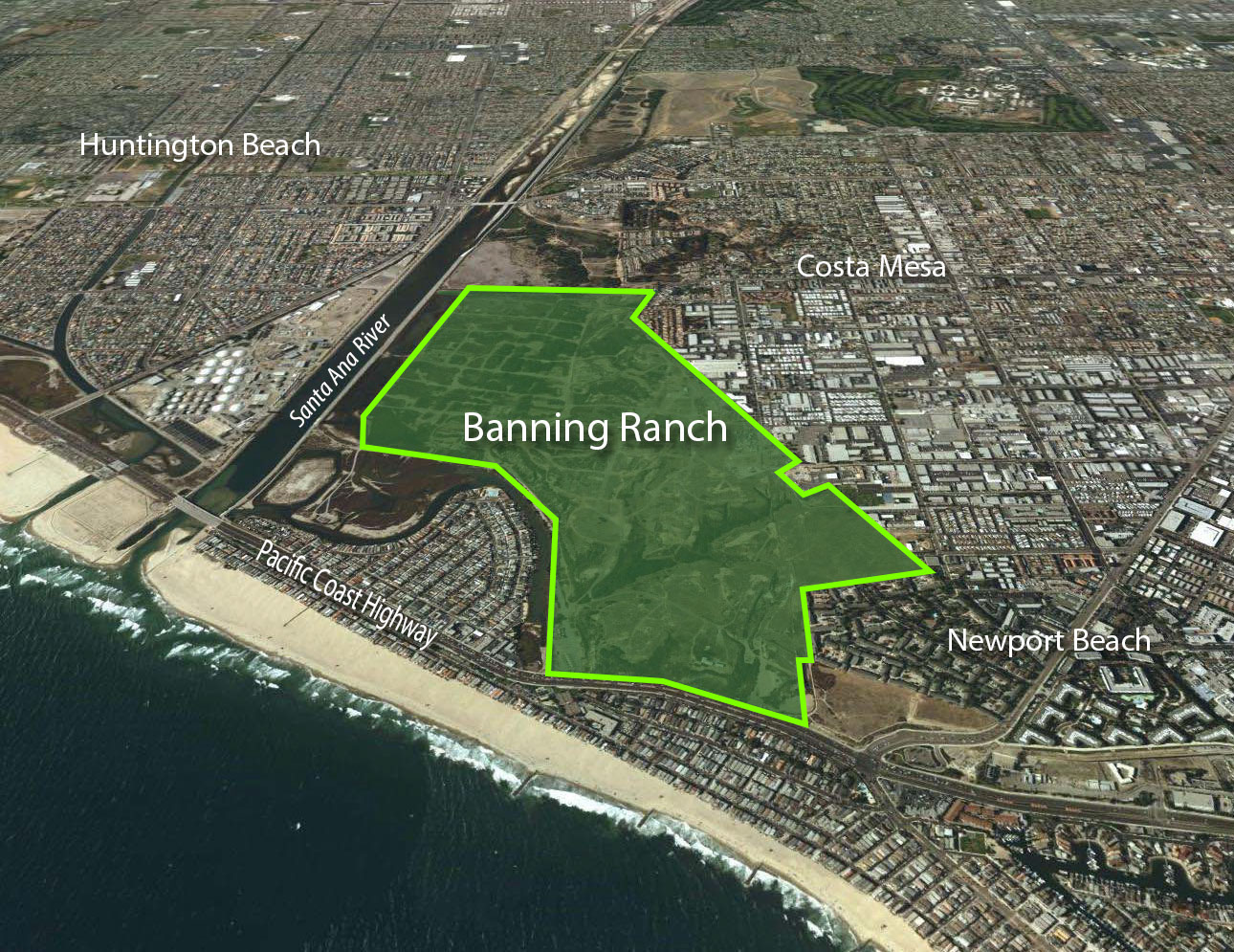 Banning Ranch is located along the Santa Ana River where it meets the ocean.
