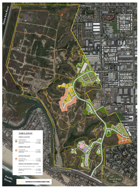 In 2016, NBR submitted finalized plans to the California Coastal Commission for a massive project proposal of 895 residential units, 45,100 square feet of commercial development, a 75-room resort, and a 20-bed hostel, as well as 12 acres of roads (including Bluff Road running from PCH to 17th Street).  In terms of residential units, the project proposal would dwarf any development ever built along the Orange County coast in recent memory (see proposed project map).