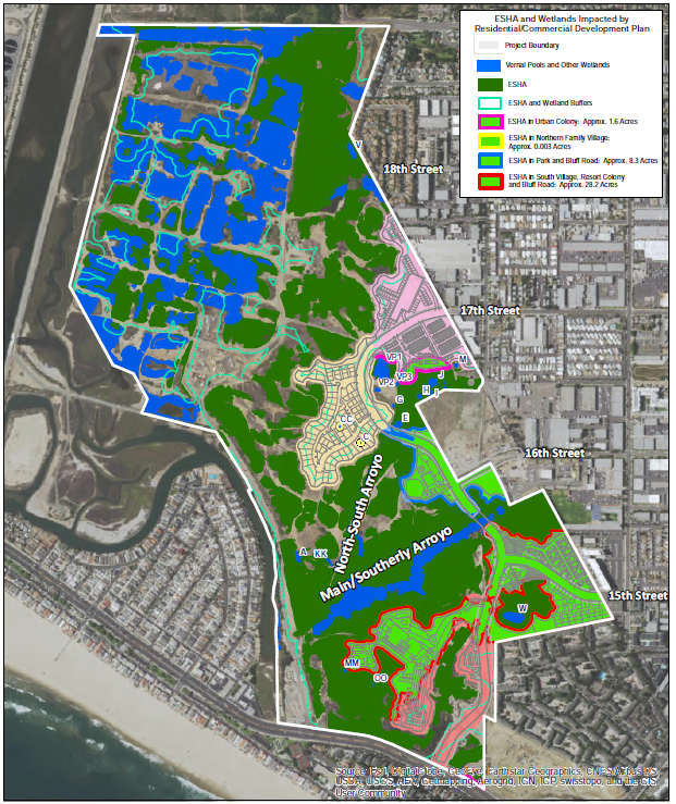 Due to numerous Coastal Act inconsistencies, most notably violations of section 30240 of the Coastal Act, which prohibits development in, or near, Environmentally Sensitive Areas (ESHAs), the Coastal Commission, on 9/7/16, voted 9-1 to deny the project proposal. The ESHA that would have been negatively impacted by NBR's project proposal included vernal pool and coastal sage scrub habitat and foraging areas for the California gnatcatcher and burrowing owl. The impacts are shown on the Development Impacts Map.
